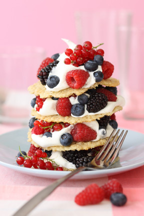 French Lace Cookies with Berries and Cream